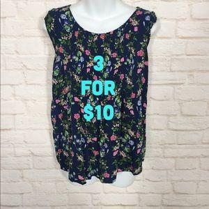 Old Navy floral sleeveless blouse medium